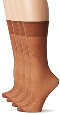 Just My Size Women's 4-Pack One size Knee High Panty Hose, Beige, One Size