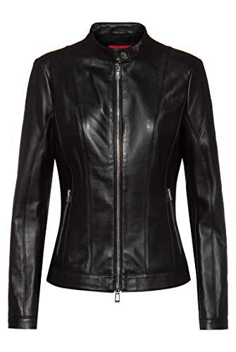 HUGO Damen Lusea 10208984 01 Lederjacke, Black1, XL