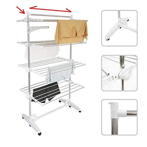 Todeco - Wäsche-Trockengestell, Wäscheständer - Material: Edelstahlrohre - Maximale Belastbarkeit: 3 kg pro Stützstange - 4 Ablagen, Weiß, mit Flügeln und oberer Stange