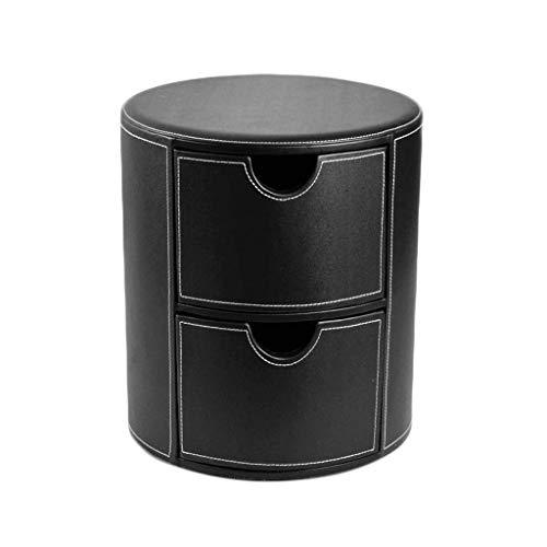 HSWYJJPFB Pelle Poggiapiedi PU Rotonda Storage Box Sgabello Cassetto Tipo di Spessore Piastra Comodino Nero, 39X39X45CM Dono Uso degli Anziani di riposarsi