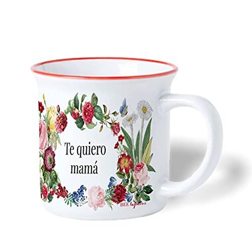 Bee Ingenious Taza personalizada de cerámica de estilo retro y diseño de flores vintage. Regalo original con inicial y texto personalizado. Regalo para madre, madrina, tía, hermana.