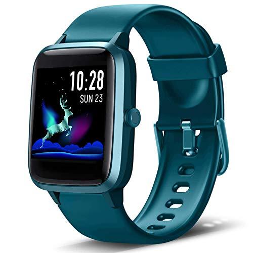Lintelek Reloj Inteligente Mujer Hombre, Smartwatch con Monitor de Pasos, Calorías, Sueño y Ritmo Cardíaco, Reloj Inteligente Impermeable 5ATM, Reloj Deportivo para iOS y Android