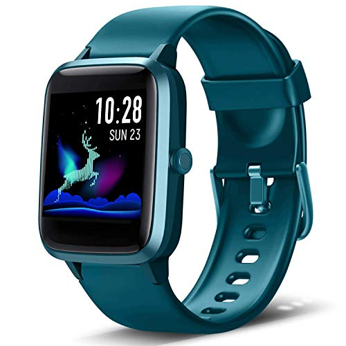 Lintelek Smartwatch, 1.3 Zoll Touch Farbdisplay Screen Smart Watch 5ATM Wasserdicht Fitness Tracker mit Pulsmesser Schlafmonitor Schrittzähler für Damen Herren kompatibel iOS und Android