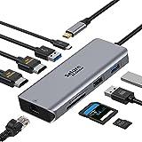 【9-in-1 HDMI*2 100W急速充電対応 USB C ハブ ドッキングステーション 4K HDMIポート/PD 100W充電/USB3.0*2高速転送/USB2.0/SD/TF Macbook Pro2020/2019/2018/2017/DELL /HPなど対応
