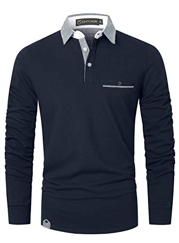 GHYUGR Poloshirt Herren Langarm Golf T-Shirt Klassische Karierte Spleiß Polohemd S-2XL,Blau 1,L