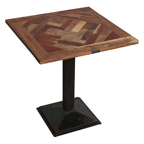 Atypik Home Table Haute de Bois Ancien en Jeu de parquet au Style Ethnique