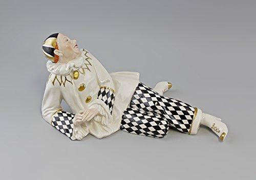 Porzellan-Figur Pierrot groß m. karierter Hose