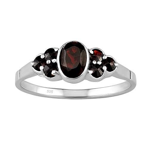 SILVEGO – SILVEGOB280008 - Anillo para Mujer de Plata 925 con Granate Checo Auténtico Rojo Oscuro