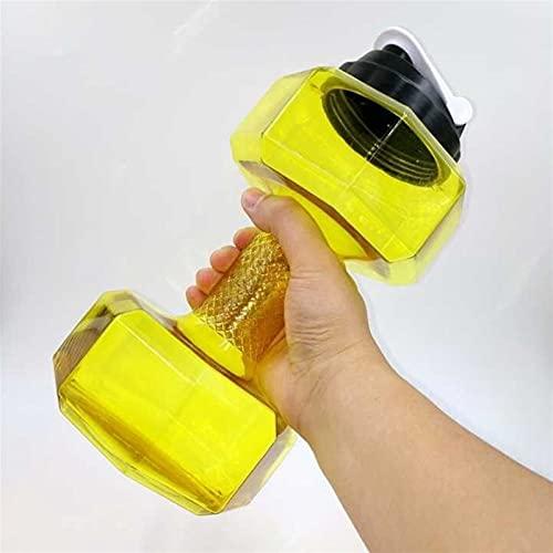 XCHJY Ampliación de la Botella de Agua de la Botella al Aire Libre Deportes de 2,2 litros PETG Mancuernas Deporte de la Aptitud Aptitud del Ejercicio Shake Peso 048 (Color : Yellow)