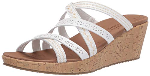 Skechers Women's Slide Wedge Sandal, White, 5