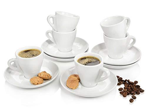 Sänger Espresotassen Set weiß 12 teilig aus Porzellan | Füllmenge 80 ml | 6x Espressotasse und 6x Untertasse | Robuste Mokkatasse | Dicker Trinkrand