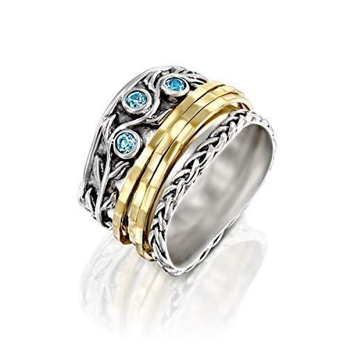 PZ Paz Creations 925 Sterling Silver Spinner Ring | Blue Topaz Gemstone | 14k Gold Plated Meditation Fidget Spinners | Two Tone Wide Band December Birthstone (7, blue-topaz)
