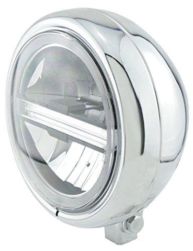 HIGHSIDER Pecos Typ 6 Motorrad 5 3/4 Zoll LED-Scheinwerfer mit TFL, E- geprüft (Chrom)