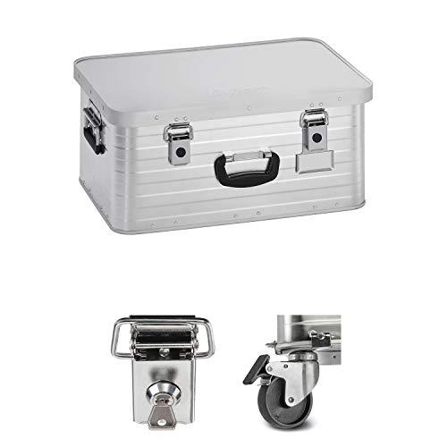 Enders Alubox 47 Liter + Schloss Set + Rollen-Set, verarbeitet mit Moosgummidichtung, Alukiste verwendbar als Transportbox, Lagerbox - Alukoffer Lagerkisten Metallkiste Metallbox Aluboxen