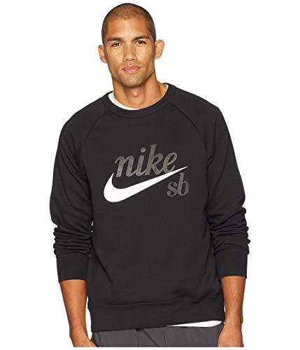 Nike Felpa Sb Uomo Nero Invernale Felpata Logo Bianco (XL)
