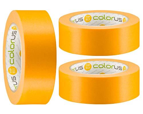 3 x Colorus Goldband Abklebeband 38 mm x 50m | 90 Tage UV-Papier-Klebeband | Lasur-Klebeband für Innen und Außen | Abdeckband-Gold Scharfe Kanten | Dünnes Malerklebeband | Klebeband für Lacke