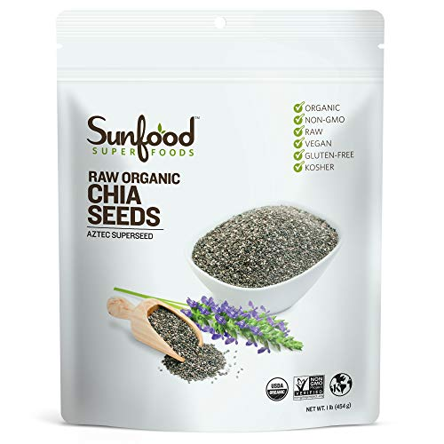 Sunfood Superfoods Chia Seeds - Raw, Organic, Whole - Omega Rich & Heart Healthy Keto Super-Seed - Great for Weight-Loss - Non-GMO - Enjoy As-Is or Ground in Smoothies - Bulk 1 lb Bag