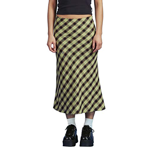 Boho Midi Skirts for Women Printed High Waist A Line Plaid Skirt Long Maxi Pencil Skirt Slim Bodycon Streetwear Y2k Skirt (Style F Green, Small)