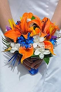 Silk Blooms Ltd Artificial Bright Orange Oriental Lily and Dendrobium Orchid Wedding Bridesmaid Bouquet w/Blue Stephanotis