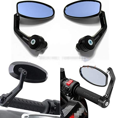 Without brand WSF-Rearview Mirrors, 2pcs Universal Black 7/8' Aluminum Motorcycle Handle Bar End Oval Rearview Moto Mirror