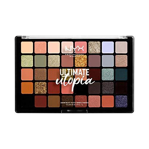 NYX Professional Makeup Lidschattenpalette, Ultimate Shadow Palette, Gepresster Puder Lidschatten, 40 Farbtöne, Matt, Satiniert, Metallic, Farbton: Ultimate Utopia