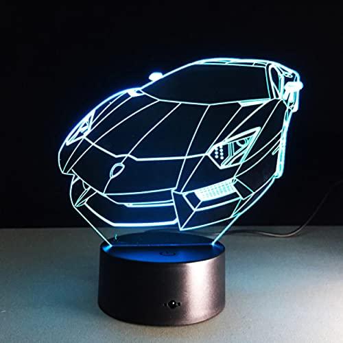 Luz De Noche De Color Coche Deportivo Auto Holograma 3D Iluminación Del Hogar Decoración De Dormitorio Lámpara De Mesa De Escritorio Regalo