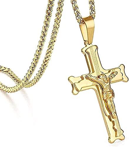 banbeitaotao Collar Collar Collar St Steel Collar Jesus Cross Link Cadena Collares Hombres S Crucifijo Collares Pendientes Joyería Religiosa Collares Regalos