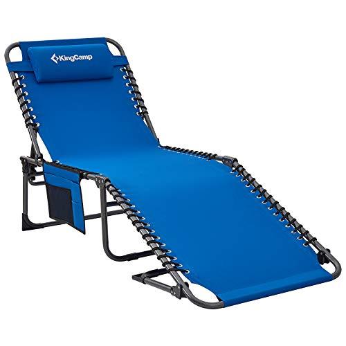 KingCamp 2Set Campingliege Sonnenliege Gartenliege Camping-Klappbett mit verstellbarem Rückenteil und Kopfkissen für Garten Urlaub Outdoor Blau