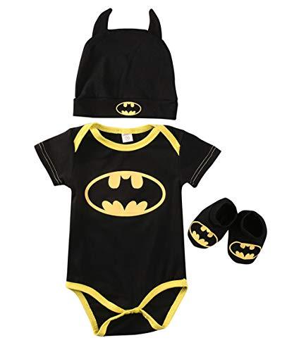 Strampler Set Junge, Batman Strampler Hut Schuhe dreiteilige Kleidung Set (Kurzärmelig, 70)