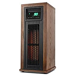 LIFE SMART Electric Infrared Quartz Oscillating Tower Heater with Adjustable Thermostat and Timer, Wood Appearance Decorative Heater with Tip-Over and Overheat Protection 1500W/1000W