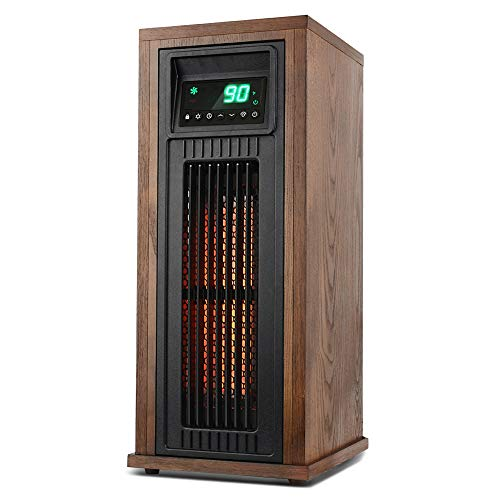 LIFE SMART Electric Infrared Quartz Oscillating Tower Heater with Adjustable Thermostat and Timer, Wood Appearance Decorative Heater with Tip-Over and Overheat Protection 1500W/1000W Heater Infrared Space