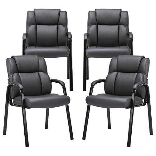 CLATINA Leather Guest Chair with Padded Arm Rest for Reception Meeting Conference and Waiting Room Side Office Home Black 4 Pack