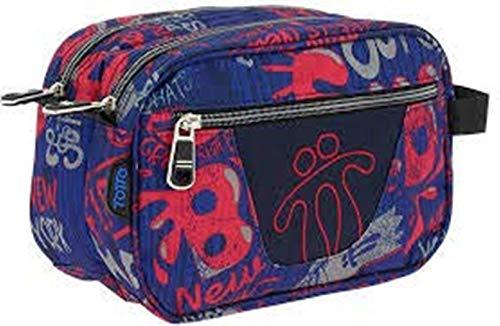 TOTTO AC52ECO010-1810Z-6LN Estuche Escolar Dos Compartimentos Estampado Backside, Plastilina, Multicolor, 26 cm