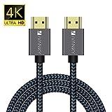 Câble HDMI 3m, iVANKY Câble HDMI 4K Ultra HD, HDMI Plaqué Or & Nylon Tressé, Supporte Ethernet/3D/Retour Audio/Netflix, Cordon HDMI 3m 4K pour Lecteur Blu-Ray/Xbox/PS4 - Gris