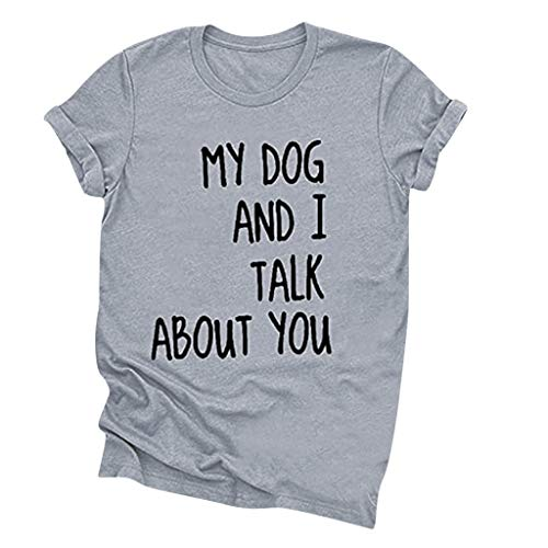 KANGMOON My Dog and I Talk About You Letter Print T Shirts Women's Round Neck Vintage Country Graphic Tee Tops Short Sleeve Neck Loose Tee Tops Tunic Blouse