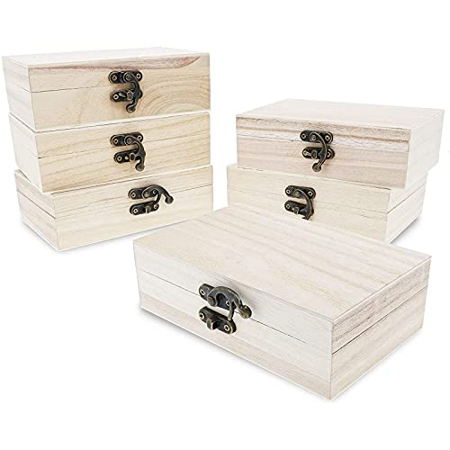 6 Pack Unfinished Wooden Boxes with Hinged Lids and Locking Clasp (5.9 x 3.9 x 1.97 In)