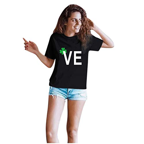 Dasongff T-shirt Klee Partner Look Paar T-shirt St. Patricks Day korte mouwen kostuum basic casual thee bovenstuk top blouses Large zwart/dames.