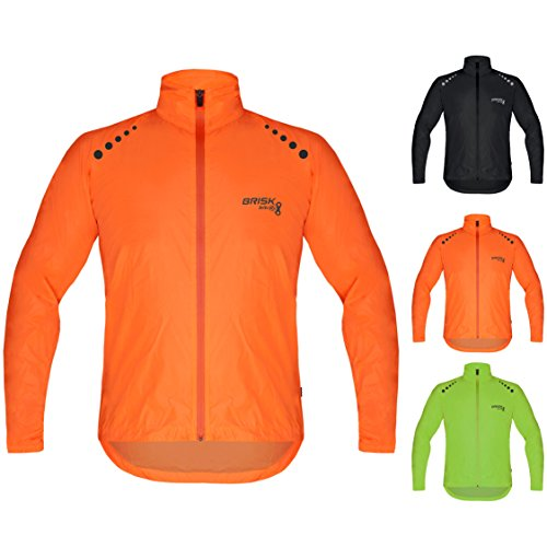 Brisk Bike Ultra-Light All Weather Waterproof Sports rain Jacket for Cycling (Orange, Large)