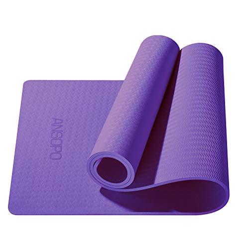 ANSOPO Tapete de Yoga Antideslizante con Material ecológico TPE Agarre de Alto Rendimiento, Acolchado Ultra denso para Ejercicio, Yoga y Pilates(10mm)(púrpura)(10mm)