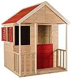 Wendi Toys M5 | Casa Jardin niños 120 x 120 x 155 cm | Casitas Infantiles Jardin | Color Rojo casita con Puerta, persiana, Pizarra | Prefabricadas Casitas de Madera Infantiles