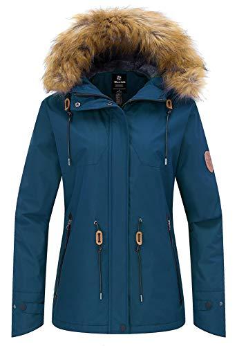 Wantdo Ski Jassen voor Dames Capuchon Fleece Waterdicht