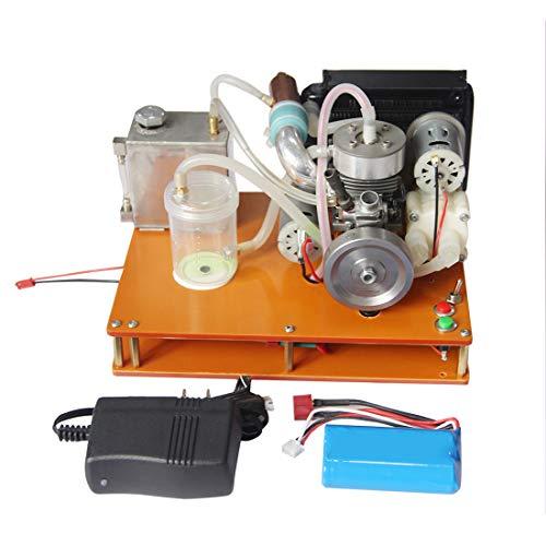 deguojilvxingshe NIKKO - Motor de gasolina de dos tiempos de un cilindro, DIY, Micro 12 V, generador de bajo voltaje con enfriador de agua totalmente ajustado, modelo de motor pedagógico