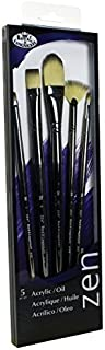 Royal & Langnickel Zen 5 Piece Long Handle Acrylic & Oil Filbert Variety Paint Brush Set by Royal & Langnickel