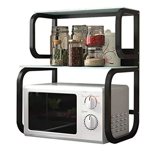 WY-YAN Estante de Cocina Microondas Horno 2 Condimento Vidrio Templado Inicio multifunción Espacio de Almacenamiento en Rack (Color: Negro, tamaño: 60 * 40 * 73.2CM)