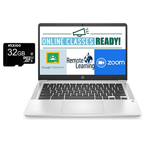 2021 Newest HP Chromebook 14 Inch FHD 1080P Laptop with Webcam, Intel Celeron N4000 up to 2.6 GHz, 4GB RAM, 64GB eMMC, Webcam, WiFi 5, Chrome OS + NexiGo 32GB MicroSD Card Bundle