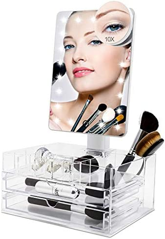 COSMIRROR Lighted Makeup Vanity Mirror with 10X Magnifying Mirror and Organizer Tray 21 LED product image