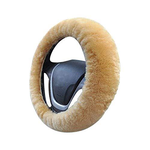 MoTuan Cubierta del Volante del Coche Cubierta General de Invierno Accesorios Interiores del Coche Cubierta del Volante de Piel, Color Crema