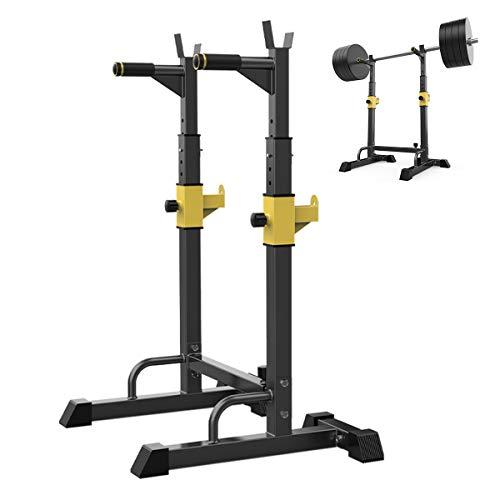 HT&PJ Squat Rack - Soporte para pesas (multifunción, para levantamiento de pesas, sentadillas y press de banca, máx. 200 kg), color amarillo