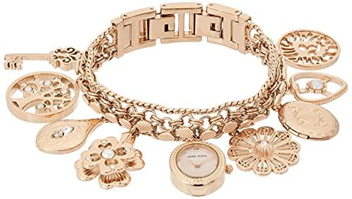 Anne Klein Women's Swarovski Crystal Accented Rose Gold-Tone Charm Bracelet Watch