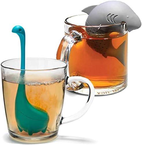 2 Pcs Silicone Tea Infuser Cute Shark Dinosaur Reusable Long Handled Loose Leaf Tea Bags Strainer product image